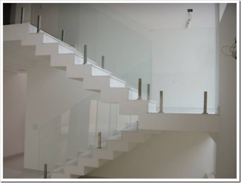 Fabuloso Corrimão de Escada em Vidro Temperado CECAP - Corrimão de Escada  BU58